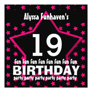 19th Birthday or ANY YEAR Black Pink STAR V19A Personalized Announcement