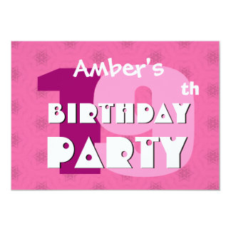 19th Birthday Party 19 Years Pink Stars W717 Personalized Announcement