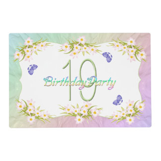 19th Birthday Party Butterflies and Wildflowers Placemat