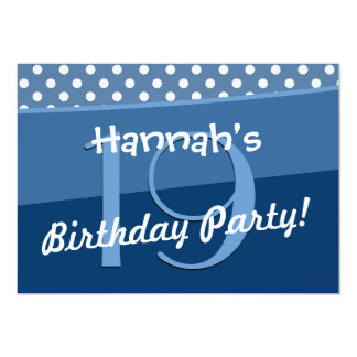 19th Birthday Party Cute Polka Dots Modern Announcements