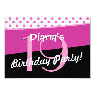 19th Birthday Party Cute Polka Dots Modern Personalized Invites
