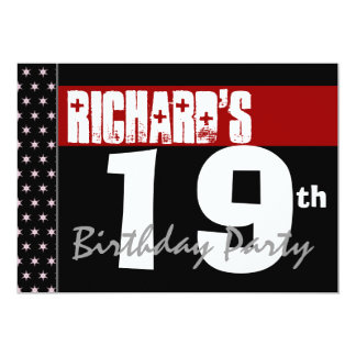 19th Birthday Party Modern Red Black and White Custom Invitation