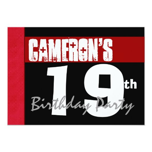 19th Birthday Party Modern Red Black and White 5x7 Paper Invitation Card