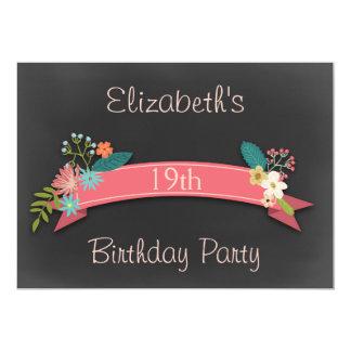 19th Birthday Pink Banner Flowers Chalkboard Card