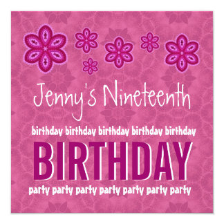 19th Birthday Pink Flowers Teen Girl Custom Name Personalized Invites