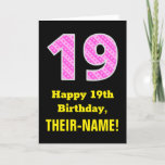 "[ Thumbnail: 19th Birthday: Pink Stripes and Hearts ""19"" + Name Card ]"
