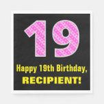 "[ Thumbnail: 19th Birthday: Pink Stripes and Hearts ""19"" + Name Napkins ]"