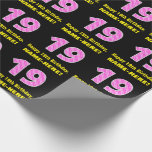 """[ Thumbnail: 19th Birthday: Pink Stripes and Hearts """"19"""" + Name Wrapping Paper ]"""