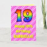 [ Thumbnail: 19th Birthday: Pink Stripes & Hearts, Rainbow # 19 Card ]