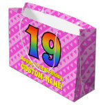 [ Thumbnail: 19th Birthday: Pink Stripes & Hearts, Rainbow # 19 Gift Bag ]