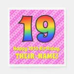 [ Thumbnail: 19th Birthday: Pink Stripes & Hearts, Rainbow # 19 Napkins ]