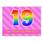 [ Thumbnail: 19th Birthday: Pink Stripes & Hearts, Rainbow 19 Postcard ]