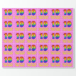 [ Thumbnail: 19th Birthday: Pink Stripes & Hearts, Rainbow # 19 Wrapping Paper ]