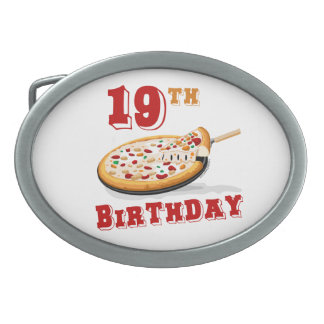 19th Birthday Pizza Party Oval Belt Buckle