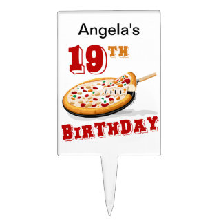 19th Birthday Pizza Party Cake Topper