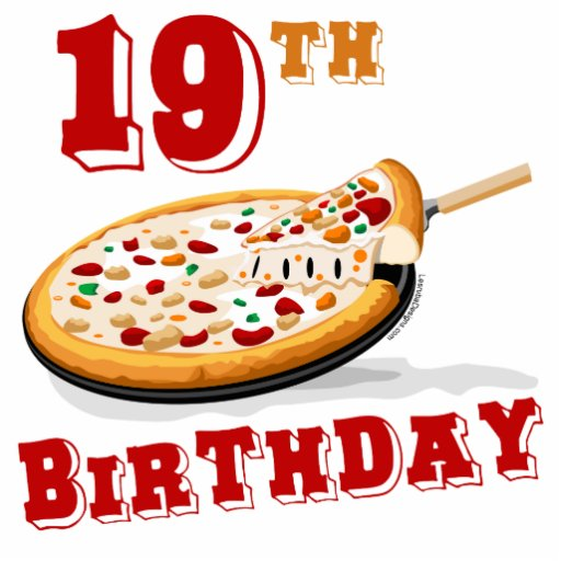 19th Birthday Pizza Party Standing Photo Sculpture