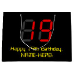 "[ Thumbnail: 19th Birthday: Red Digital Clock Style ""19"" + Name Gift Bag ]"