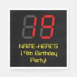 "[ Thumbnail: 19th Birthday: Red Digital Clock Style ""19"" + Name Napkins ]"