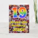 "[ Thumbnail: 19th Birthday; Rustic Autumn Leaves; Rainbow ""19"" Card ]"
