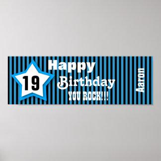 19th Birthday Star Banner Custom S06B BLUE Poster