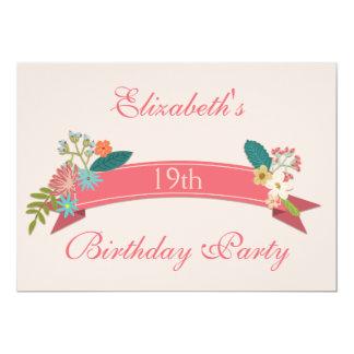 19th Birthday Vintage Flowers Pink Banner Card