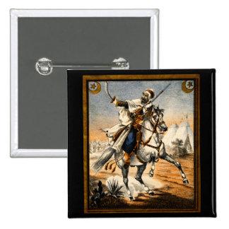 19th C. Arabian Warrior Pinback Button