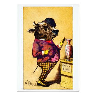 "19th C. Bull in a China Shop 5"" X 7"" Invitation Card"