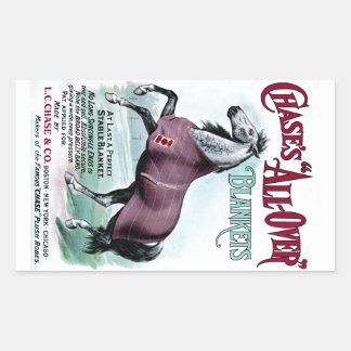 19th C. Chase Horse Blankets Rectangular Sticker