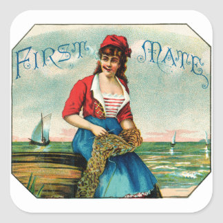 19th C. First Mate Cigars Square Stickers
