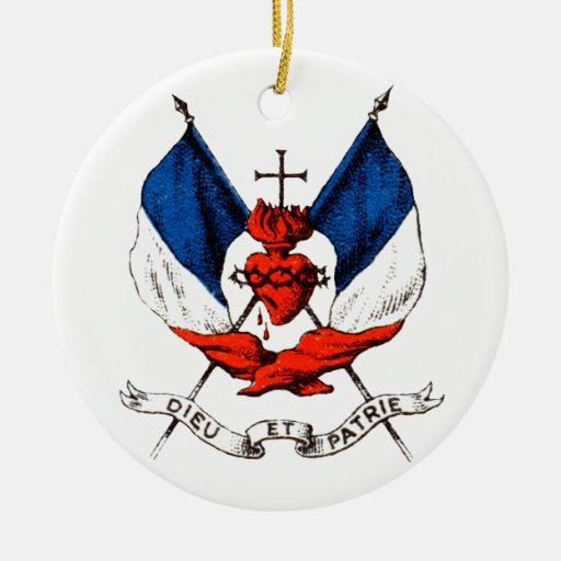 19th C. French Patriotism Double-Sided Ceramic Round Christmas Ornament