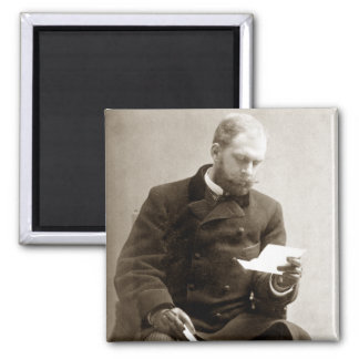 19th C. Gent reading a letter 2 Inch Square Magnet