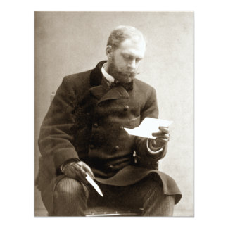 """19th C. Gent reading a letter 4.25"""" X 5.5"""" Invitation Card"""
