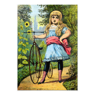"""19th C. Girl and her Tricycle 3.5"""" X 5"""" Invitation Card"""