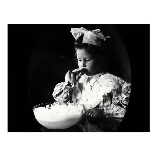 19th C. Girl Blowing Soap Bubbles Postcard