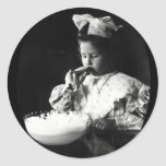 19th C. Girl Blowing Soap Bubbles Round Stickers