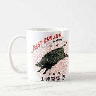 19th C. Japanese Silk Classic White Coffee Mug