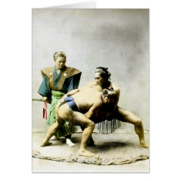 19th C. Japanese Wrestlers Card