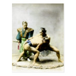 19th C. Japanese Wrestlers Post Card