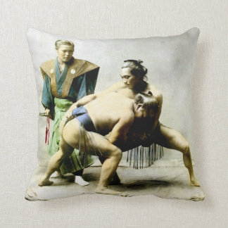 19th C. Japanese Wrestlers Throw Pillow
