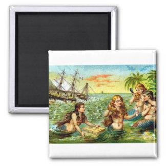 19th C. Mermaids 2 Inch Square Magnet