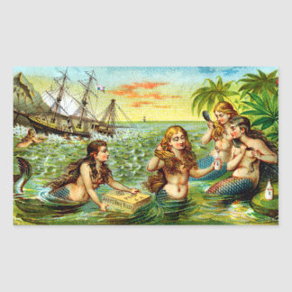 19th C. Mermaids Rectangle Stickers