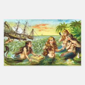 19th C. Mermaids Rectangular Sticker