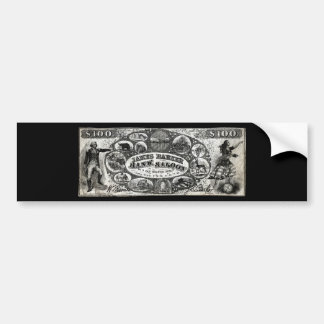 19th C New York Saloon Bank Note Car Bumper Sticker