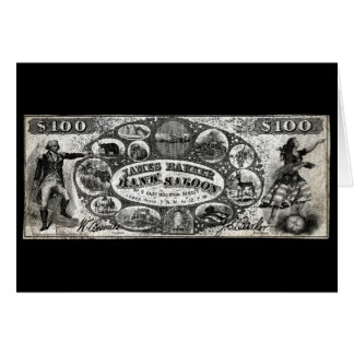 19th C New York Saloon Bank Note Stationery Note Card