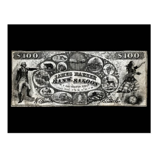 19th C New York Saloon Bank Note Postcard