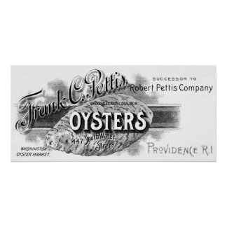 19th C. Oysters, black Poster