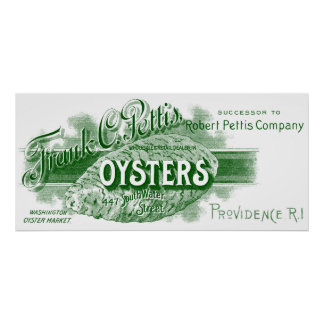 19th C. Oysters, green Poster