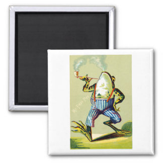 19th C. Pipe Smoking Frog 2 Inch Square Magnet
