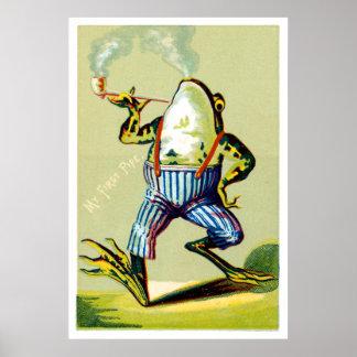 19th C. Pipe Smoking Frog Poster