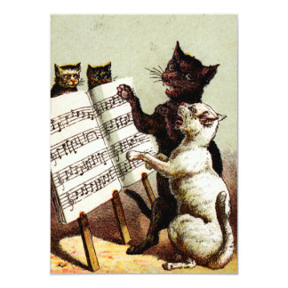 19th C. Singing Cats 4.5x6.25 Paper Invitation Card